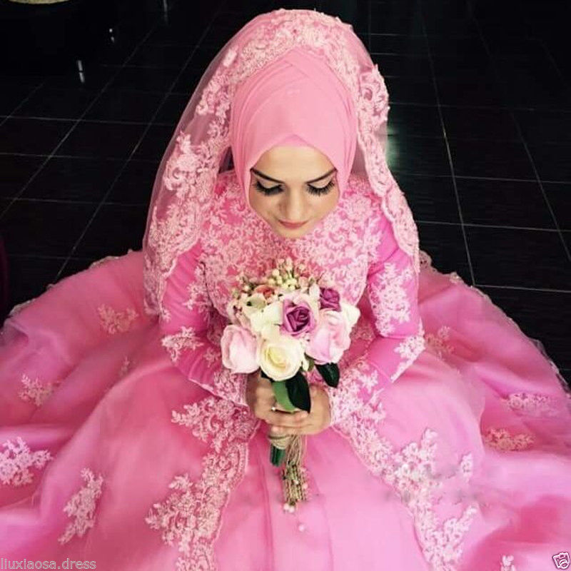 bride gown in pink